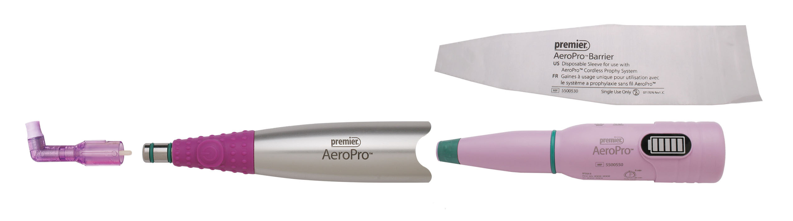 Components of the AeroPro™ Cordless Prophy Handpiece System
