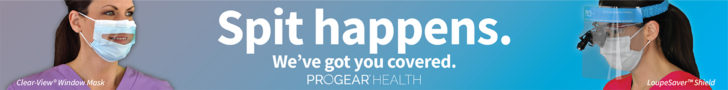 Spit Happens. We've got you covered. ProGear Health –Clear-View Window Mask + LoupeSaver Shield