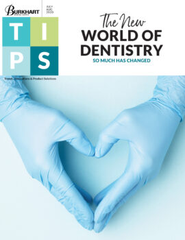 Gloved hands in heart shape on cover of TIPS July/August 2020