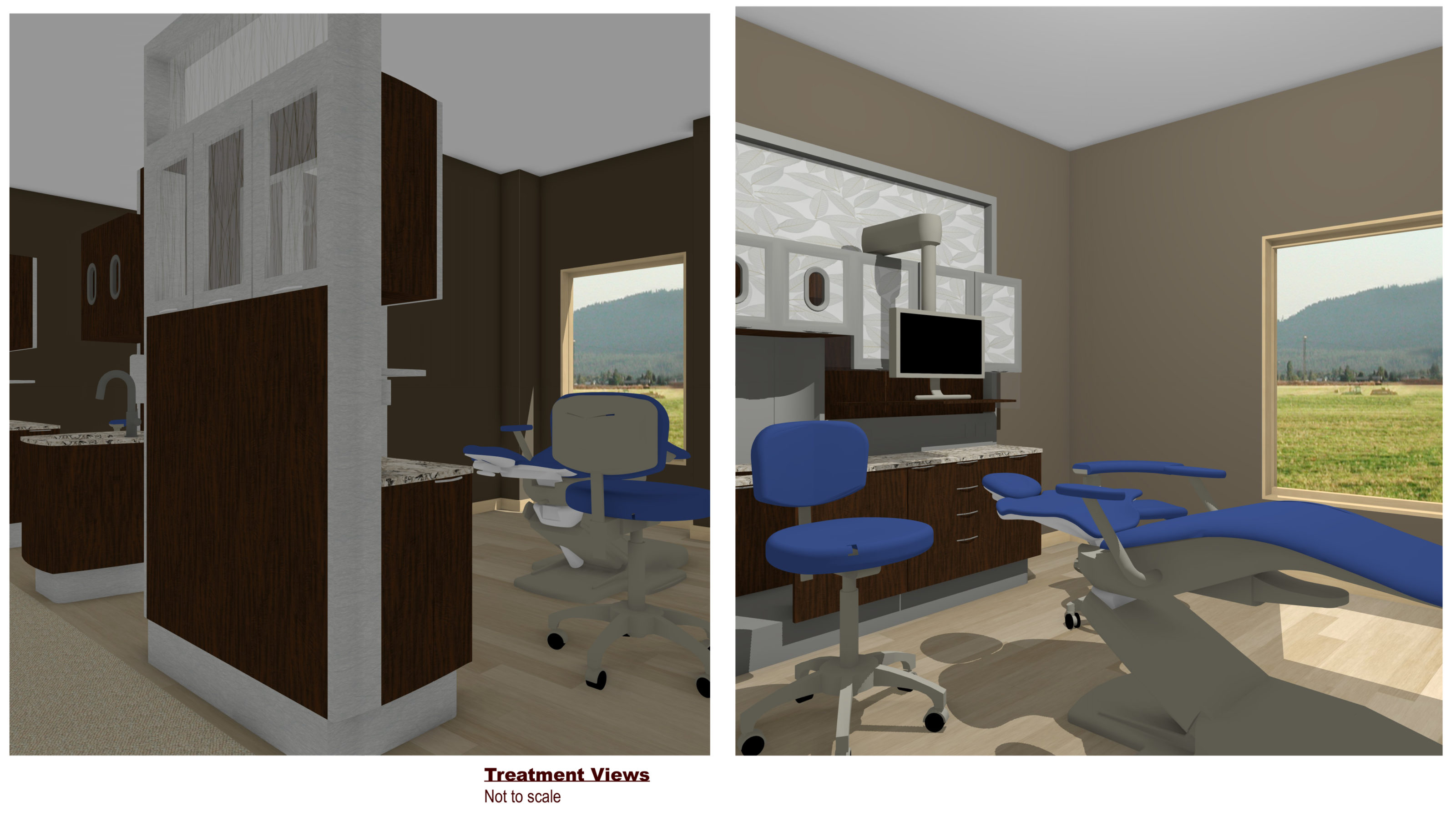 Taking a 3D office tour is always a fascinating opportunity. These two images are two stills from a dental practice walk-through. Both images show treatment views. Neither image is to scale but gives the potential recipient a taste of what their office could look like.