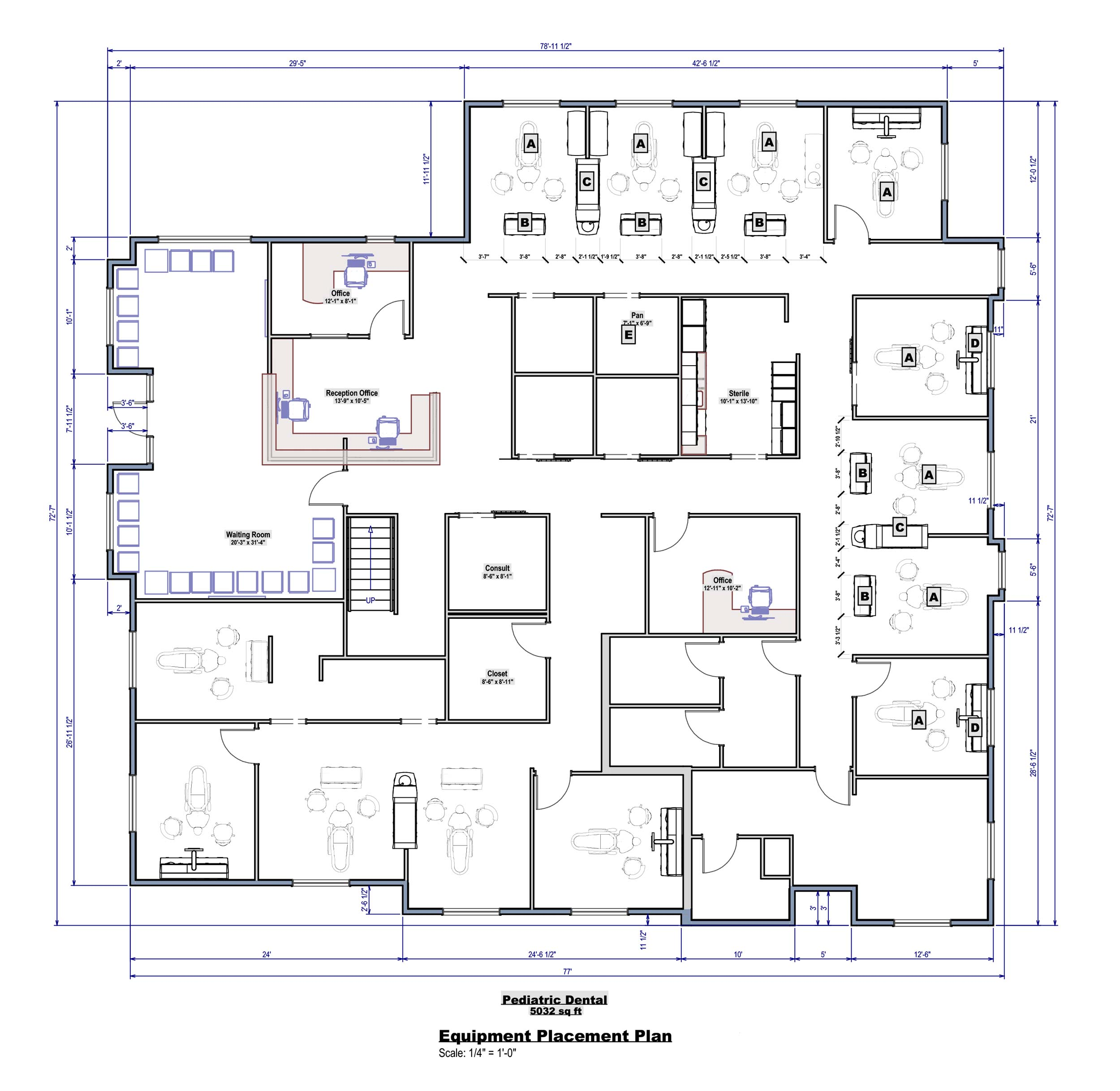 Every new office design starts with a blueprint, a to-scale floorplan drawing indicating space layouts and flow of a new office.
