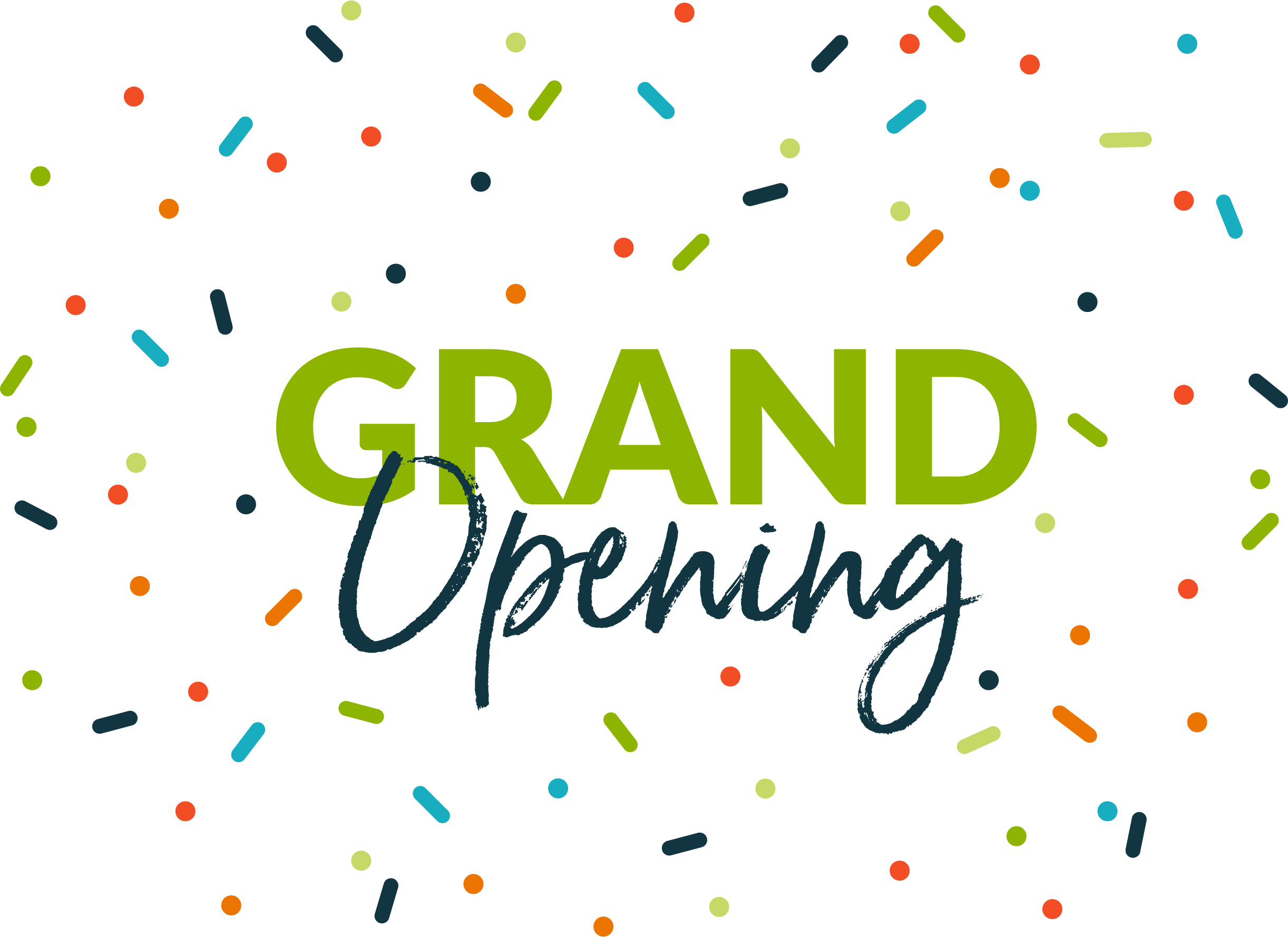 Grand Opening Announcement complete with colorful confetti.