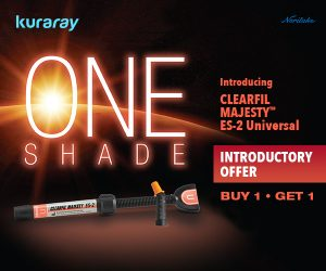 Kuraray April 2021 Banner Ad – One Shade. Introducing CLEARFIL MAJESTY™ ES-2 Universal. Excellent esthetics with fewer steps. Introductory Offer Buy 1, Get 1.