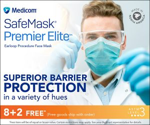 Medicom Banner Ad –SafeMask Premier Elite. Earloop Procedure Face Mask. Supperior Barrier Protection in a variety of hues. 8+2 Free* (Free goods ship with order.) *Free item will be of equal or lesser value. Certain restrictions may apply. See your Burkhart representative for details.