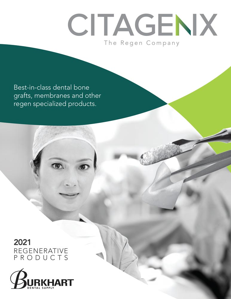 The cover of the Citagenix catalog featuring a high contrast black and white photo of a dental surgeon and grafting products. Bright splashes of lime and forest green from the Citagenix logo are echoed to frame the photo in graceful curves.