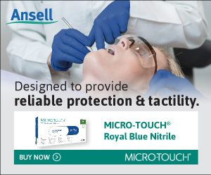 Ansell banner ad. MICRO-TOUCH® Royal Blue Nitrile Gloves –designed to provide reliable protection and tactility. (August 2021)