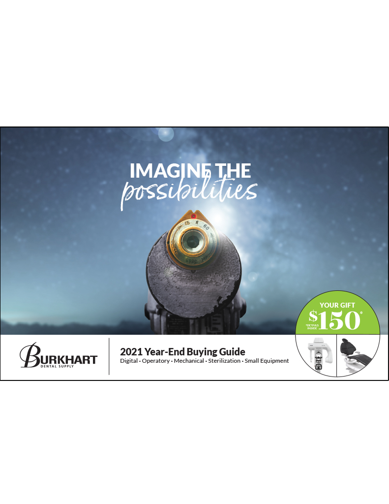 The 2021 Year-End Buying Guide is all about imagining the possibilities. The cover photo is a telescope in front of a night sky image showing the milky way. The cover of the publication is isolated on a white background.