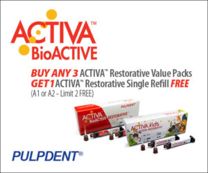 Activa BioACTIVE Buy Any 3 ACTIVA Restorative Value Packs GET 1 ACTIVA Restorative Single Refill FREE (A1 or A2 –Limit 2 FREE) October 2021.