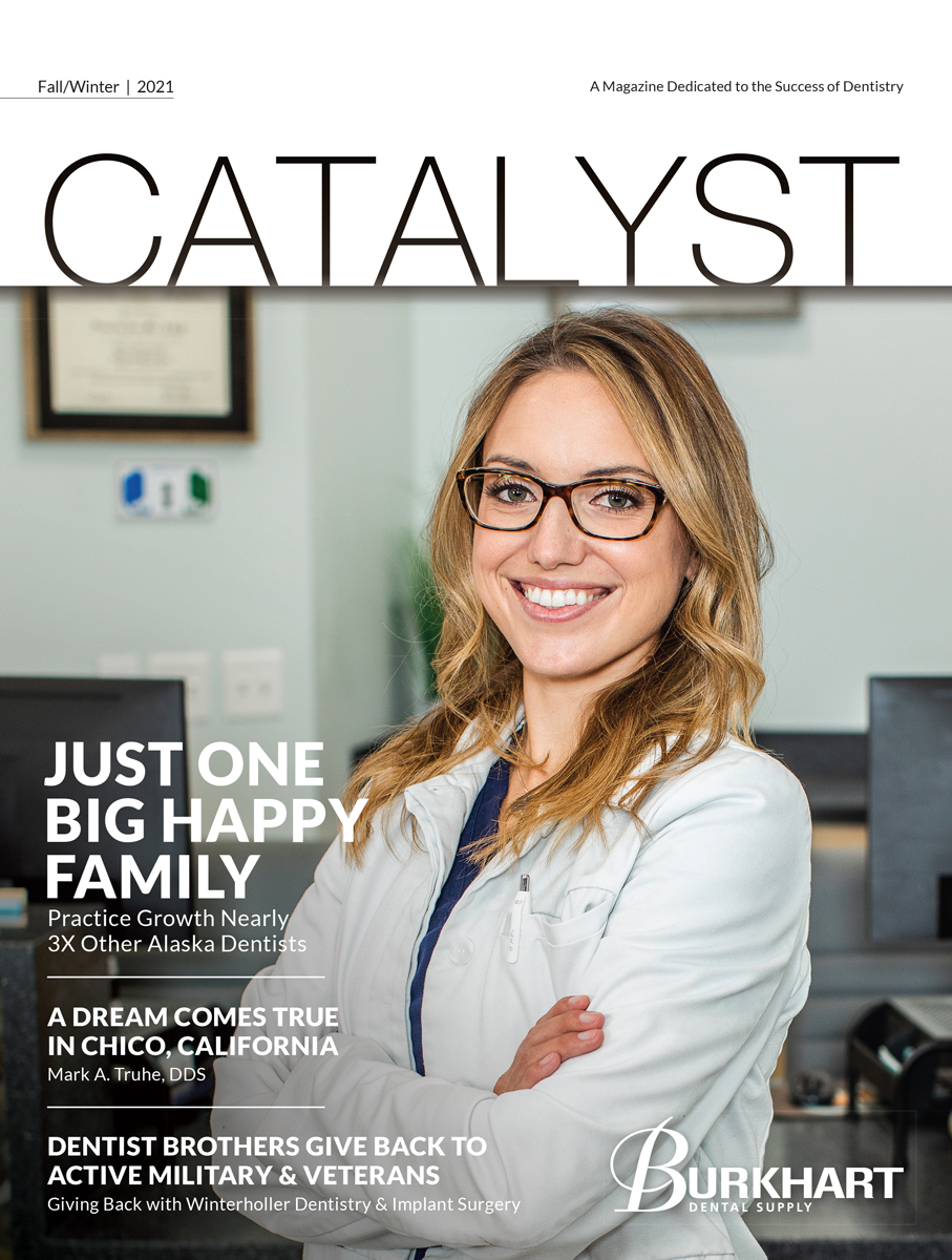 Catalyst Fall/Winter 2021 cover. Featuring a photograph of Dr. Samantha Mize of Bitesize Pediatric Dentistry in Anchorage, Alaska.